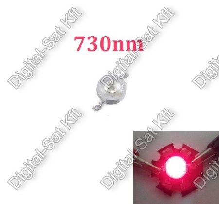1W Power LED vörös, 730nm, növényekhez,akváriumhoz is,730nm POWER LED