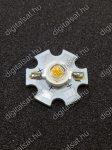 1W Power LED 3000K hűtőcsillagra szerelve 110 Lumen meleg fehér 2 év garancia