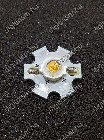 1W Power LED 3000K hűtőcsillagra szerelve 130 Lumen meleg fehér 2 év garancia