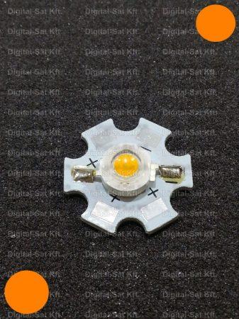 1W Power LED naracssárga 80 Lumen 595-600nm hűtőcsillagon