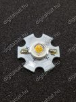 3W Power LED 6000K hűtőcsillagra szerelve 220 Lumen hideg fehér 1 év garancia