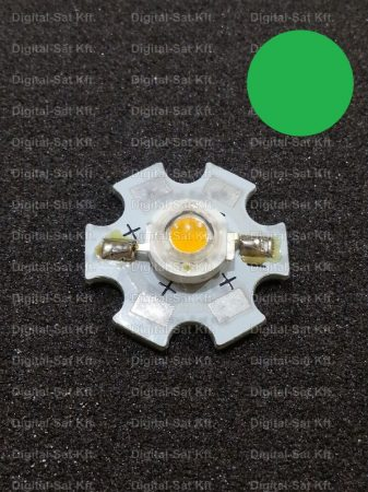 3W power LED Zöld 160 lumen  hűtőcsillagon