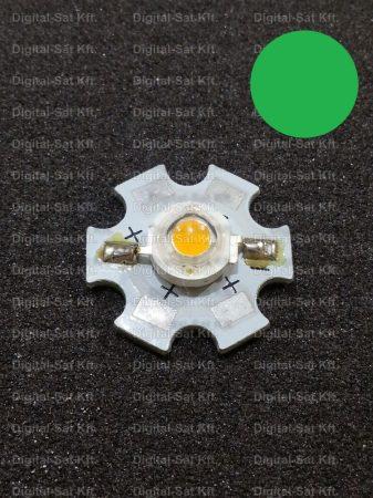 3W power LED Zöld 160 lumen  hűtőcsillagon
