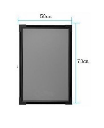 Írható világító LED tábla, 50X70 cm, fekete, plexi előlappal