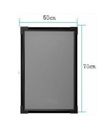 Írható világító LED tábla, 50X70 cm, fekete, üveg előlappal