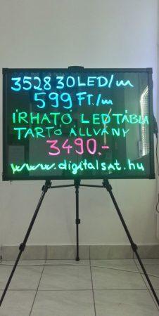 Írható világító LED tábla, 60X80 cm, fekete, üveg előlappal AJÁNDÉK FILCTOLL KÉSZLETTEL!