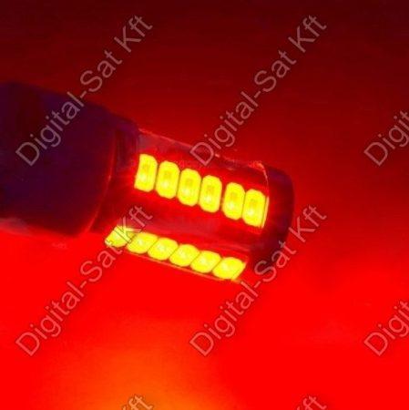 Autós LED izzó BA15D 12V piros 33 smd LED P21W 1156