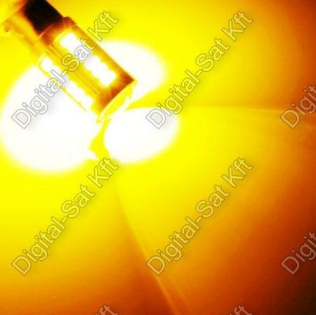 Autós LED izzó BA15S 12V sárga index, 33 smd LED P21W 1156