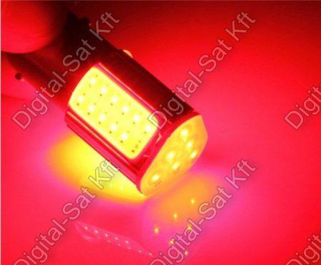 Autós LED izzó BAY15D 12V COB piros smd LED P21/5W