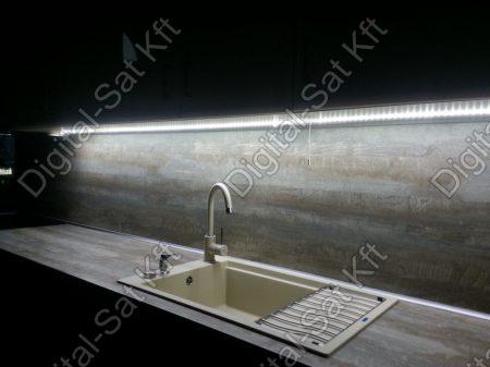 LED Konyhapult világítás 3528 120LED/m LED szalag,Alumínium profilon, tápegységgel 1m