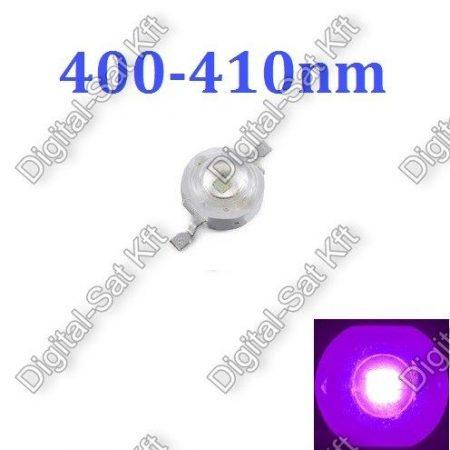 1W Power LED UV Kék, 400-410nm,KÉK, növényekhez is
