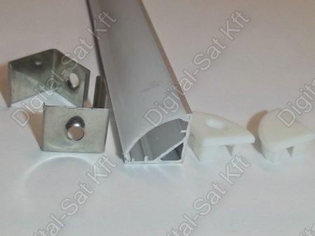 45 fokos Alumínium, alu profil, sín, LED szalaghoz, eloxált, szögletes, 1 méter 8mm,10mm szalaghoz