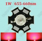 1W Power LED mélyvörös, deep red 655-660nm növényekhez is