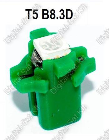 LED izzó T5 B8.3D 12V 5050 1 smd zöld