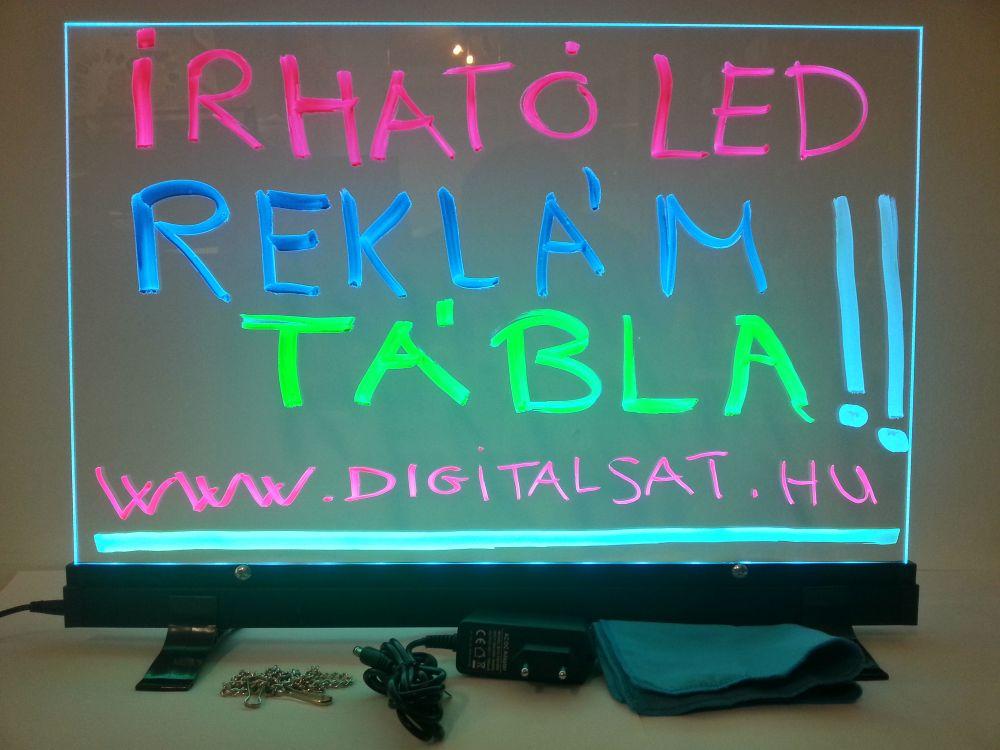 Írható világító LED tábla asztali, 35X50 cm, fekete, plexi előlappal
