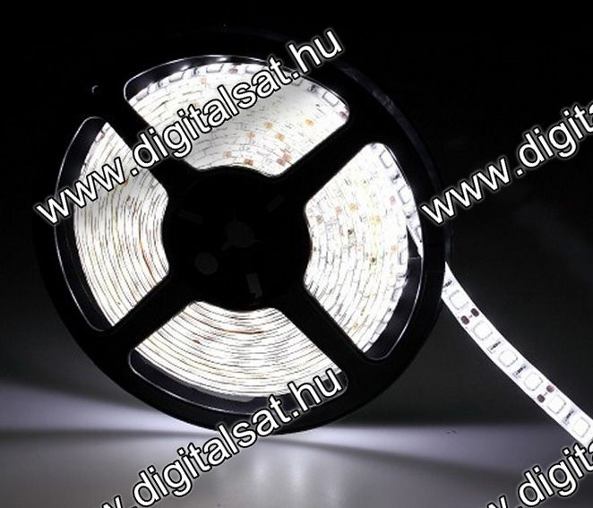 5050 LED szalag 60 LED/m hideg fehér 1200 Lumen IP44 1 cm